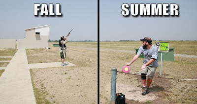 composite image of a skeet shooter and disc golfer using the same area for their sport
