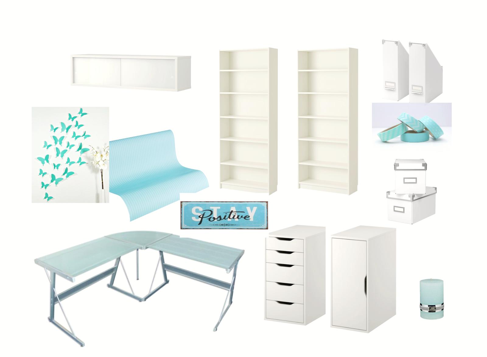 Villa Lebenslust Blog: Moodboard - Home Office Gestaltung Türkis - Weiss