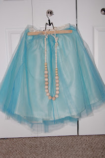 Multi-Hued Tulle Skirt & Wood Bead Necklace by Cicely Ingleside
