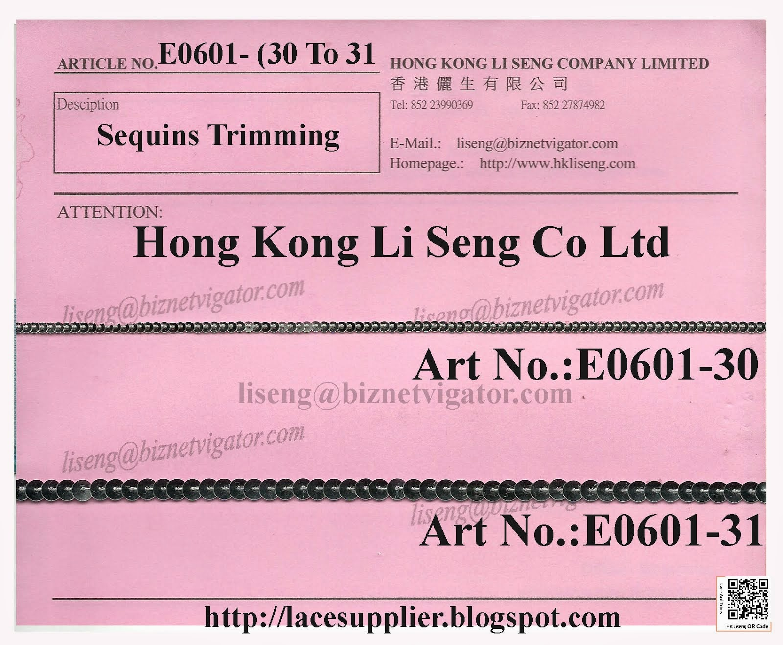 Sequins Trimming Manufacturer - Hong Kong Li Seng Co Ltd