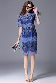 Short Sleeve 3-Shades Blue Waves Lace OL Dress