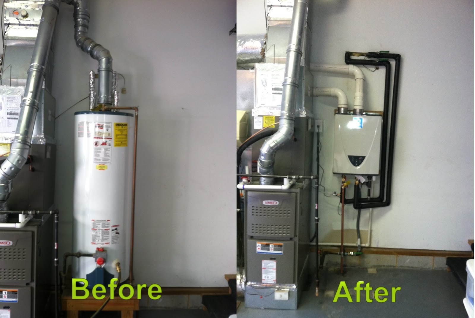 Water Heating Furnace ~ This is a before and after picture of another state