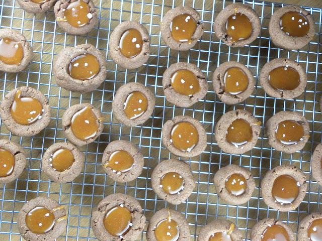 Salted Caramel & Chocolate Espresso Thumbprint Cookies | sweetpeasandsaffron.com