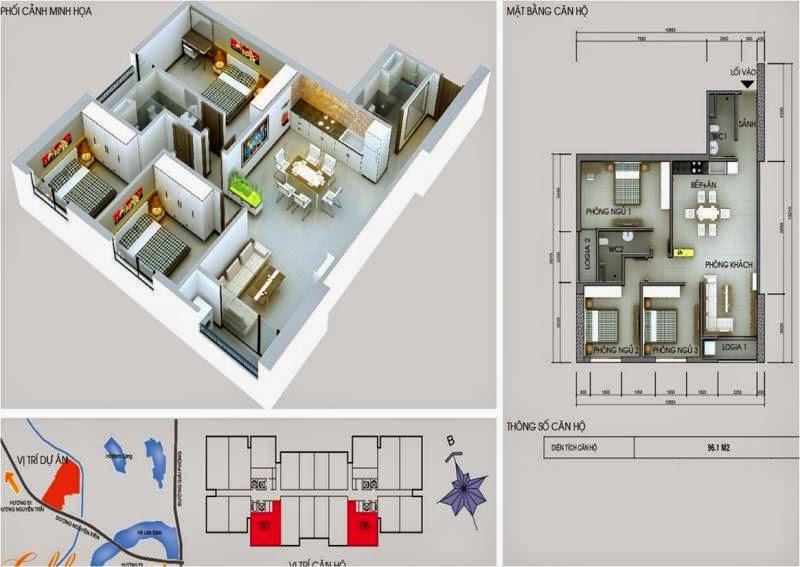 Căn số 3 - 8 DT 96,1m2. Golden Central Tower - Vinaconex 2
