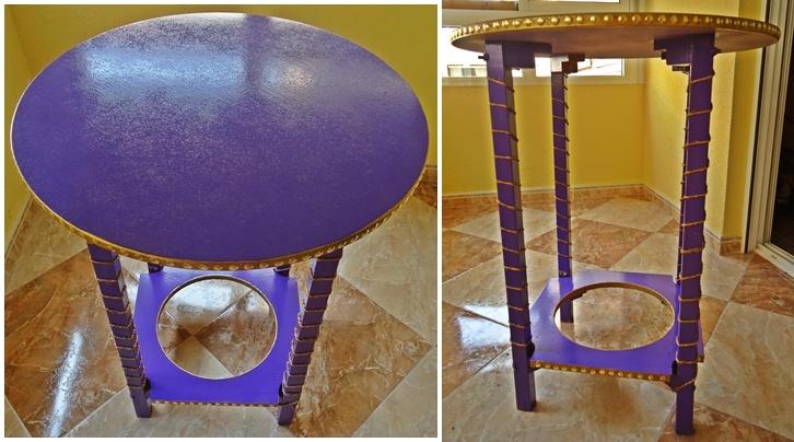 The purple fashion diy customiza tus muebles con - Decorar mesa camilla ...