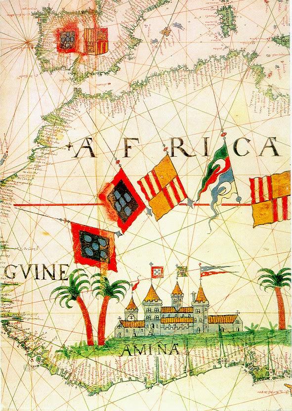 Carte d u 16ème siècle de l'Afrique Occidentale, montrant São Jorge da Mina (château d'Elmina )
