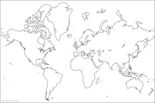 Printable Labeled Color World Map - 1GlobalTown.com