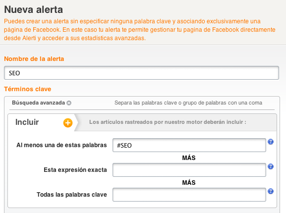 hashtag Facebook monitorizar Alerti