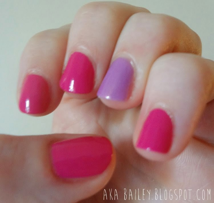 Fuchsia nails with orchid accent, based on Emma Stone's Met Gala outfit