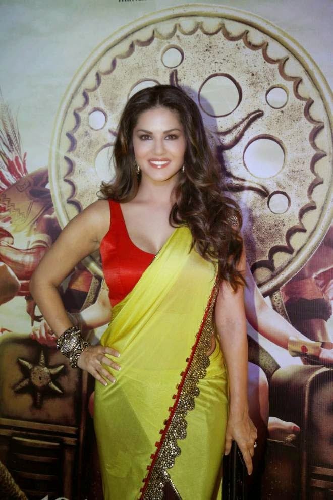 Sunny Leone Hot Cleavage Show Yellow Designer Sarees Photos
