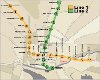Mapa do metrô de Monterrey - México