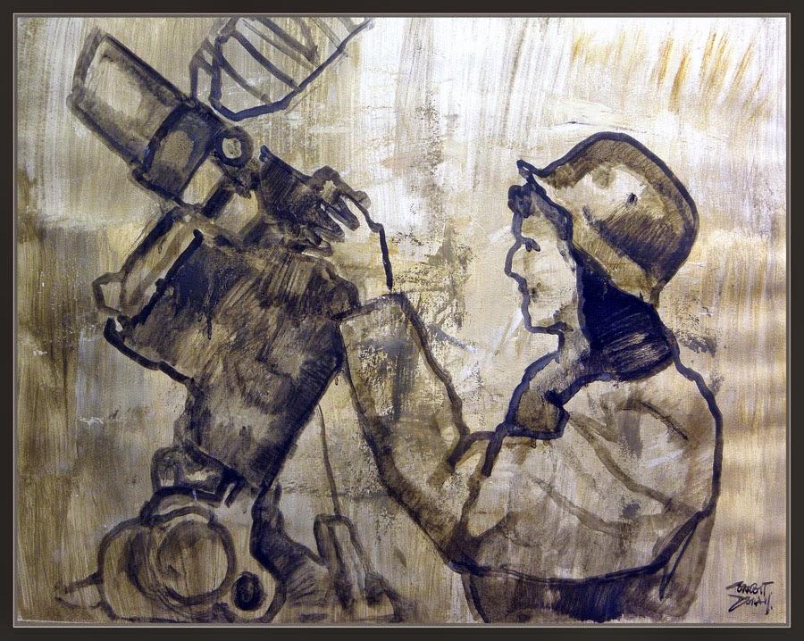 ARTE MIITAR-SEGUNDA GUERRA MUNDIAL-MUJERES-ALEMANIA-SOLDADOS-ARTILLERIA-PINTURA-PINTOR-ERNEST DESCALS-