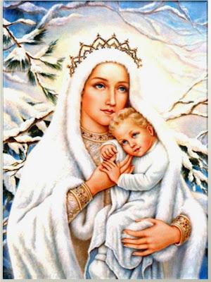 La Virgen con el Niño en brazos ante un Abeto Nevado