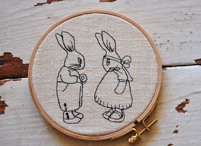 broderie redwork lapin