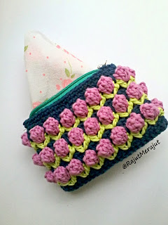 Tusuk Bunga Tulip, Dompet Rajut, Coin Purse, Crochet Coin Purse