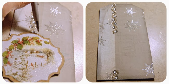 Lay your bling strip along the edge of the coordinating paper then place then position the tag image on the tag Mark the bling strip at the top and bottom of the image label and cut away the extra. Glue bling strip to the paper seam