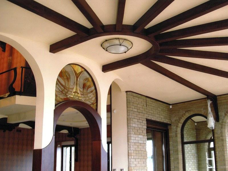 14 gypsum false ceiling design with wooden decorations for living room 2015. Black Bedroom Furniture Sets. Home Design Ideas