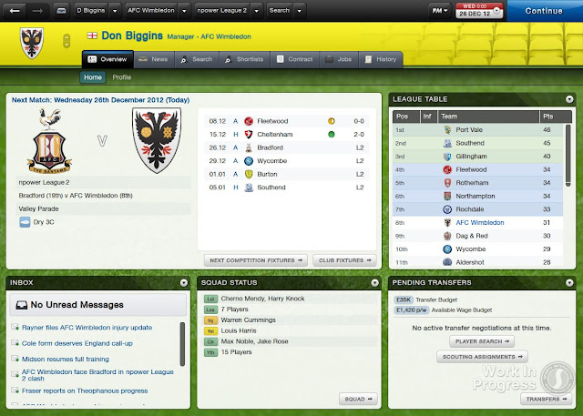 Home Screen  In Football Manager 2013