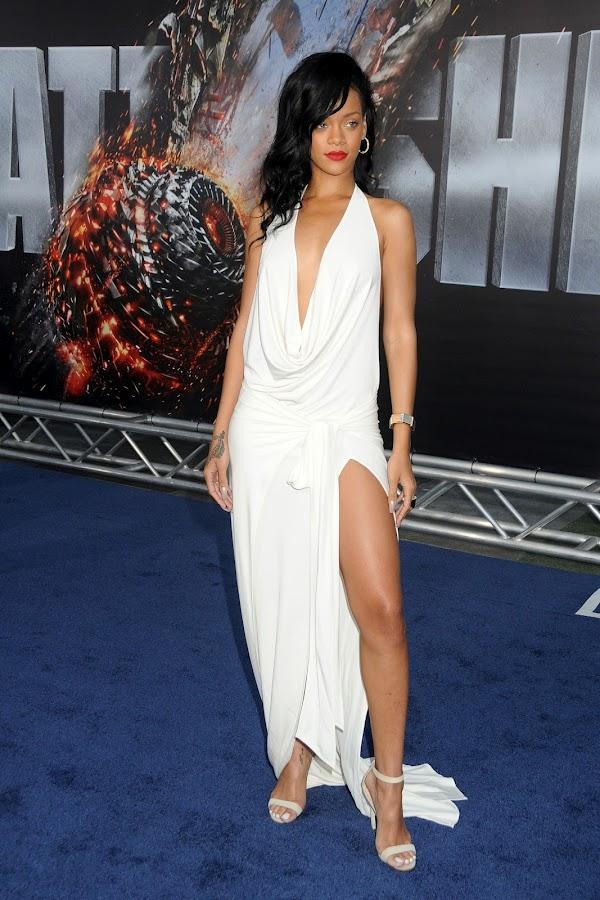 Rihanna sexy in a white dress and Manolo Blahnik heels at Battleship premiere in LA