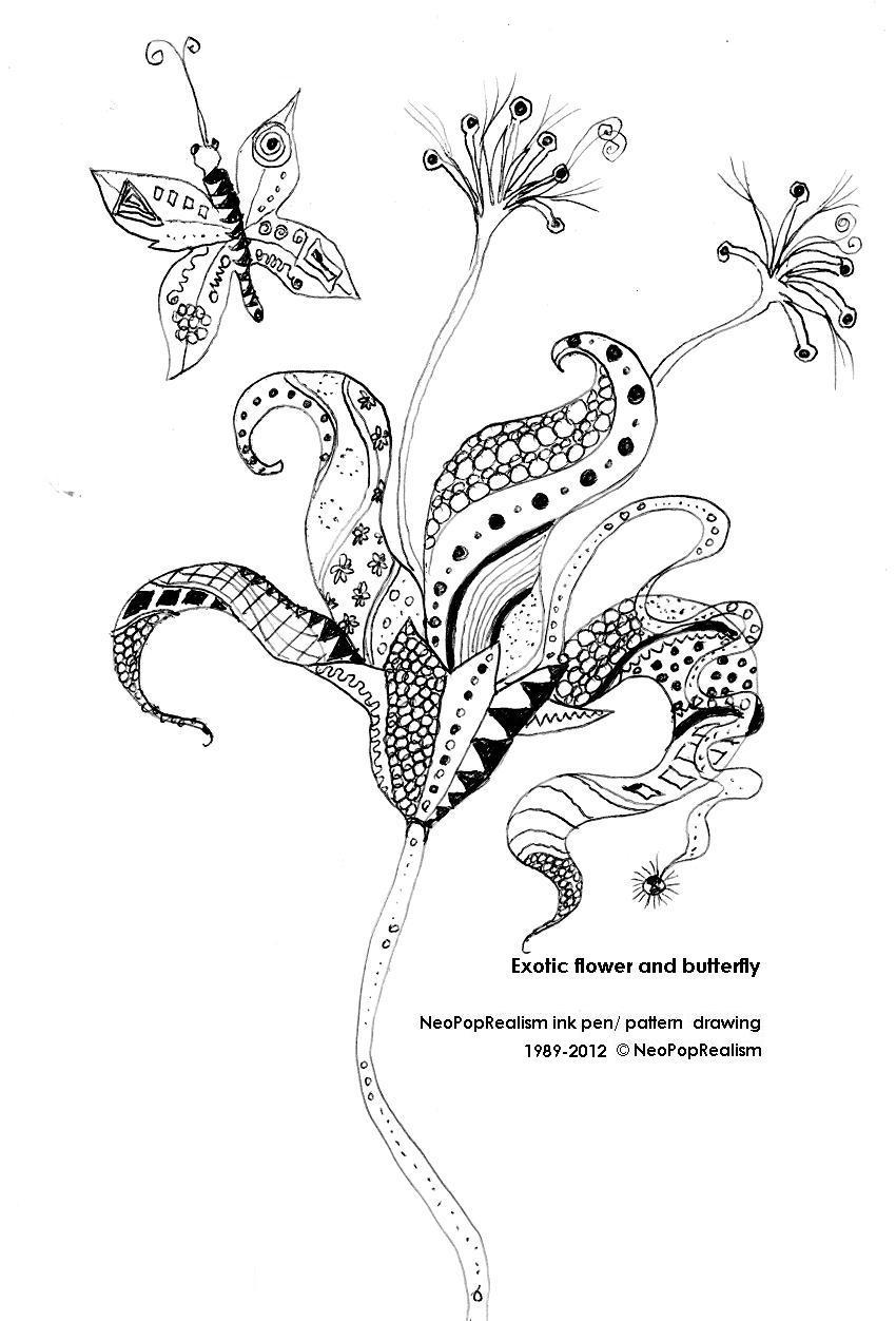 exotic flower u0026 butterfly leaf neopoprealism ink pen pattern