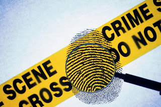 Image of Police yellow tape with magnifying glass and fingerprint.