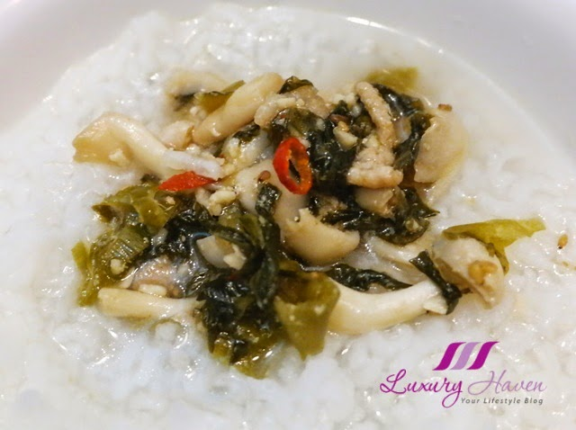 stir fry pork japanese takana with porridge