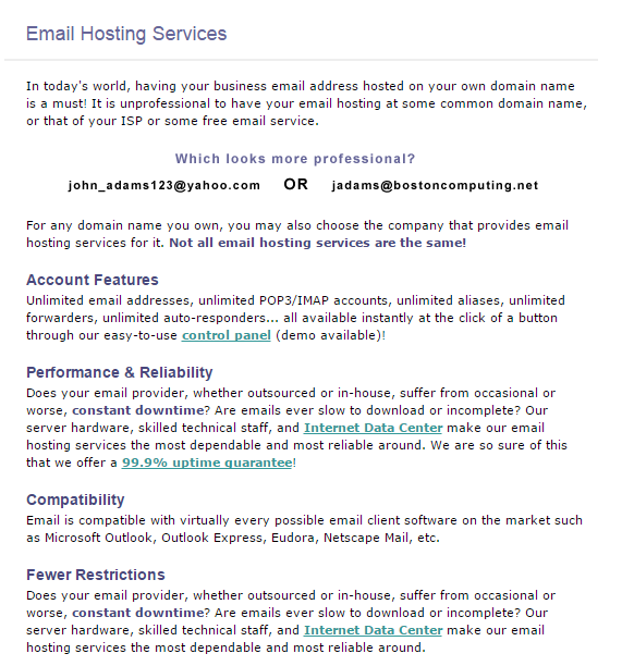 Email domain hosting