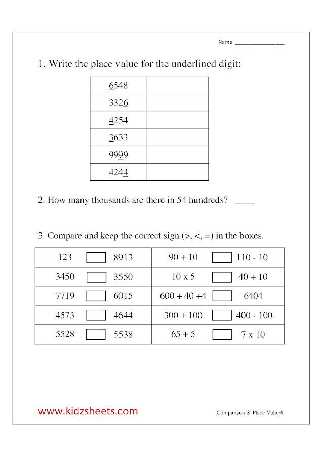 Free Printable Third grade Worksheets,Free Worksheets, Kids Maths Worksheets, Maths Worksheets, Third grade Comparison , Third grade Place value, Comparison, Place value, , Third grade,  Kids Comparing values, kids place value.