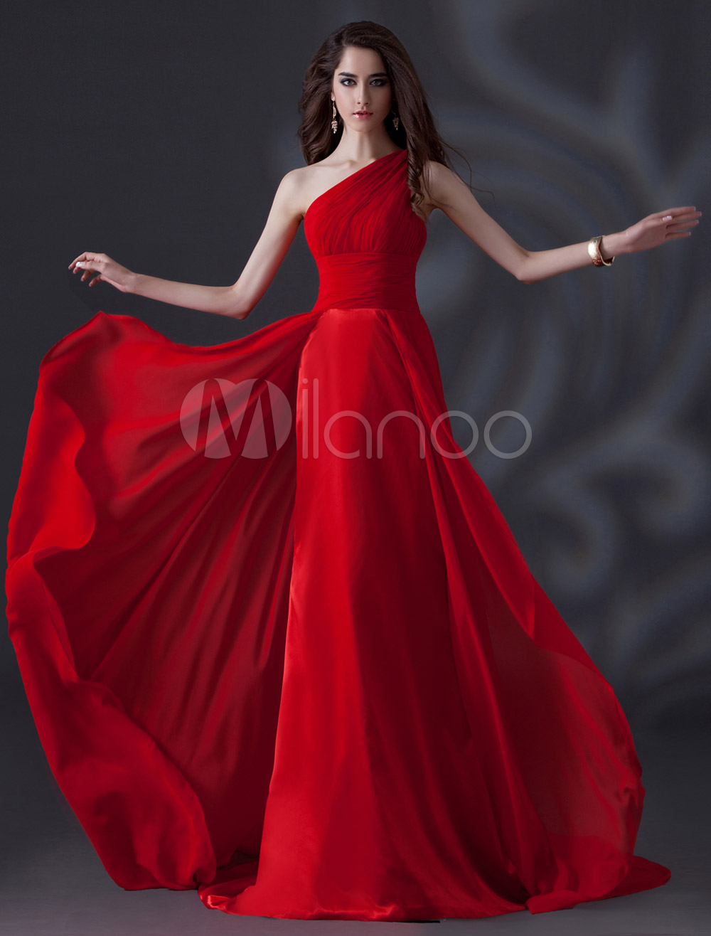 One-Shoulder Pleated Chiffon Red Elegant Bridesmaid Dress