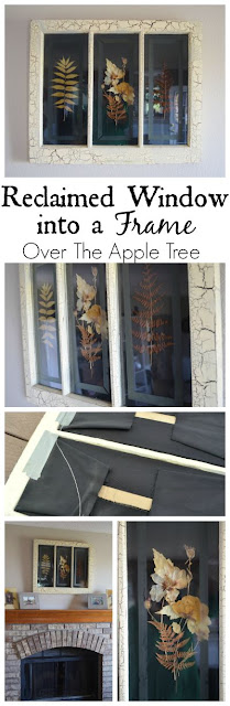Turn a reclaimed window into a decorative frame by Over The Apple Tree