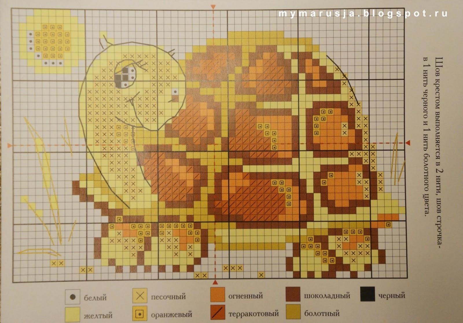схема вышивки черепахи крестиком