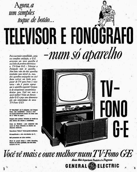 Televisor e Fonógrafo conjugados da General Eletric, de 1957.