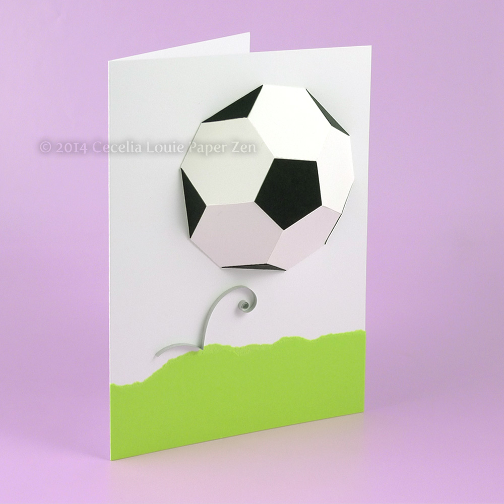 paper zen d soccer ball birthday card, Birthday card