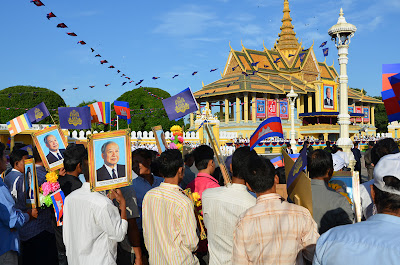 Crowd at Royal Palace, Phnom Penh, Cambodia