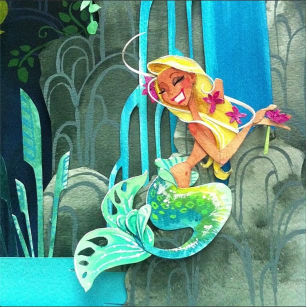 mermaid lagoon watercolor j.shari.ewing jennifer ewing illustration