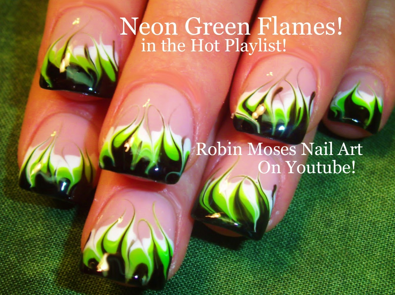 Robin moses nail art no water marble neon green flames up to no water needed diy neon marble flames nail art tutorial in the hot playlist on my youtube channel tons more no water designs by searching robin prinsesfo Images