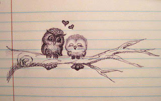 loving owl couple drawing cover photo for facebook