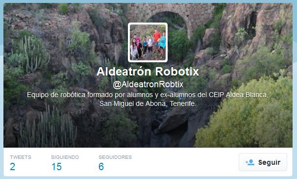 el equipo de la FLL ALDEATRON ROBOTIX tiene twitter
