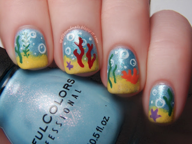Disney Challenge The Little Mermaid nails nail art Spellbound Nails Nail Lacquer underwater water sea ocean coral seaweed ProfessionalDQ bubbles sand freehand sponging Sinful Colors Cinderella