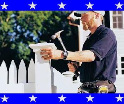 A redneck making a picket fence
