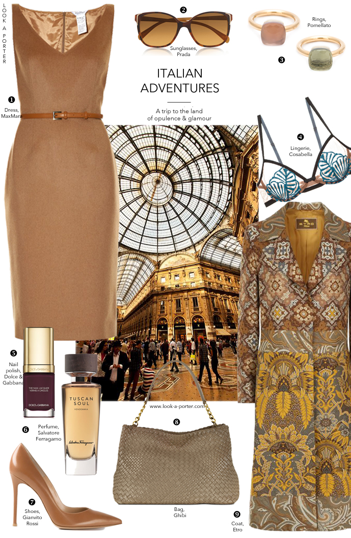 Opulence made modern. A daywear look styled with maxmara, ghibi, Etro, Gianvito Rossi, Cosabella, Salvatore Ferragamo, Prada & Docle&Gabbana via www.look-a-porter.com style and fashion blog, daily outfit inspiration
