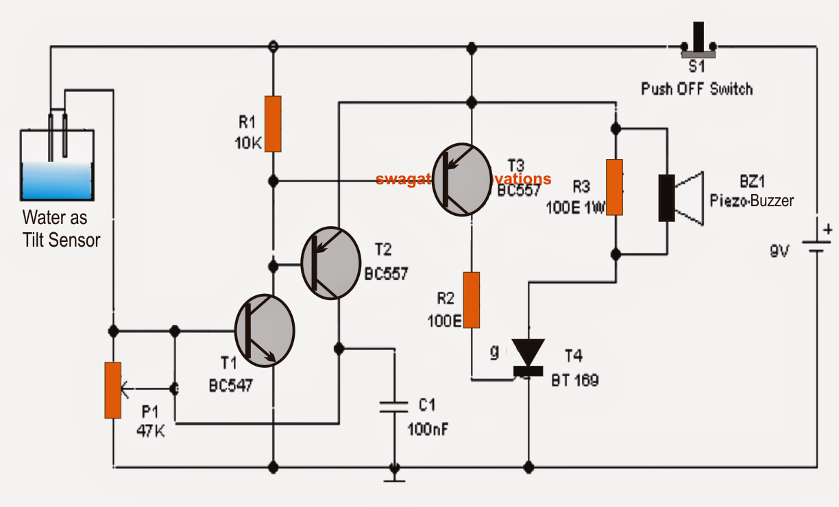 simplest tilt sensor switch circuit