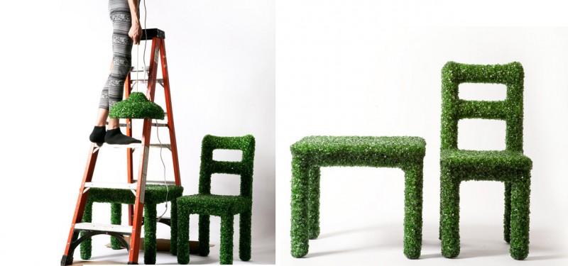 Sillas, bancos y mesas hechos con botellas recicladas