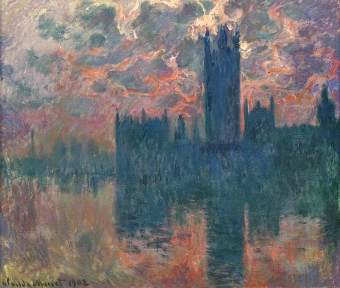 Claude Monet Le Parlement, soleil couchant.