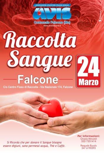 RACCOLTA SANGUE 24 MARZO 2018 A FALCONE NEL CENTRO FISSO DI RACCOLTA VIA NAZIONALE, 174