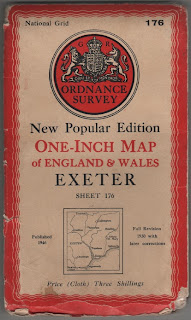 1946 Ordnance Survey, cloth map of Exeter, Devon