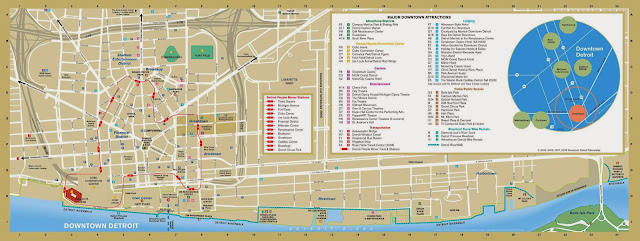 Tourist map of Detroit showing attractions and famous sites