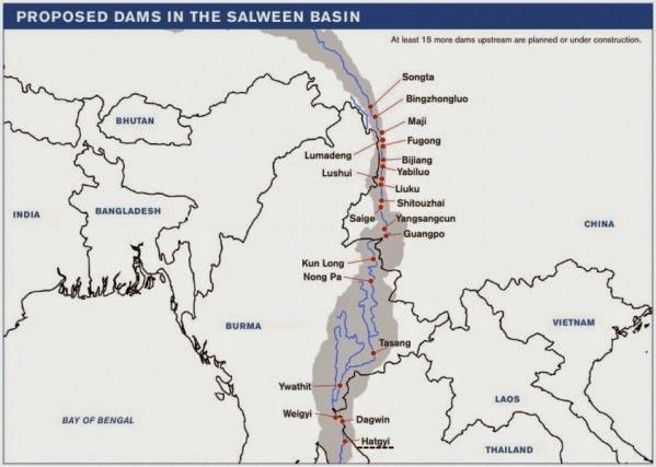 Staudämme in Planung am Salween