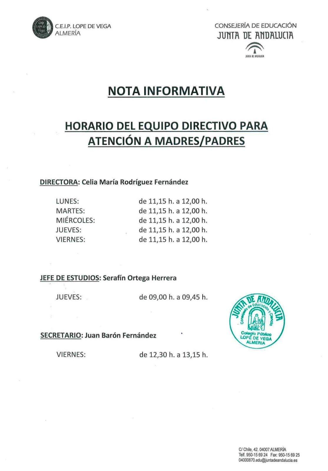 HORARIO EQUIPO DIRECTIVO