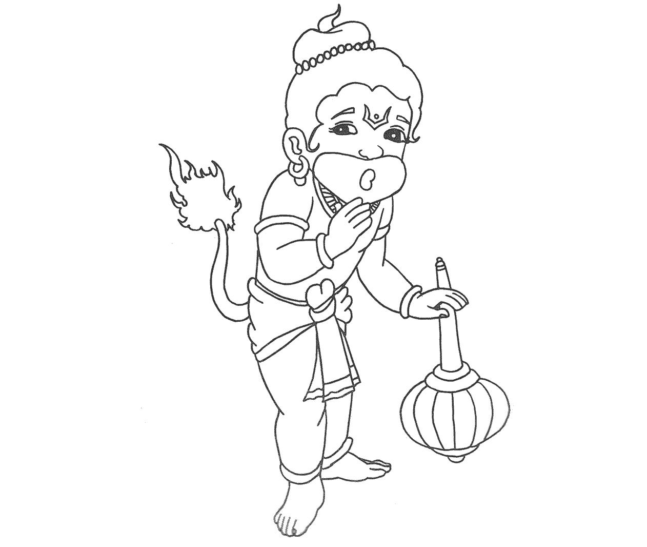 Lord Hanuman Coloring Drawing Free Wallpaper | Anggela Coloring Book For Free